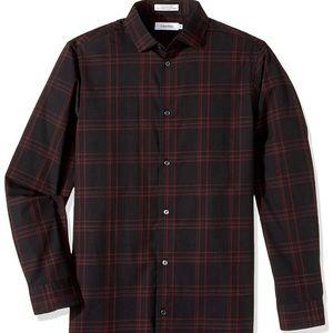 Calvin Klein boys long sleeve plaid shirt